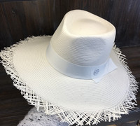 01903 HQSW256002 Handmade white straw knitted Exquisite Superior quality beach fedoras cap men women leisure panama hat