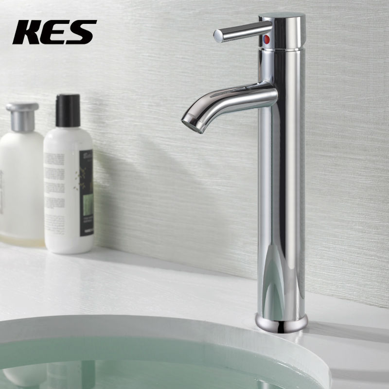 KES L306B Euro Modern Contemporary Bathroom Lavatory Vanity Vessel Sink  Faucet Tall,Chrome/Brushed Nickel