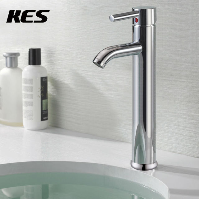 KES L306B Euro Modern Contemporary Bathroom Lavatory Vanity Vessel Sink  Faucet Tall,Chrome/Brushed