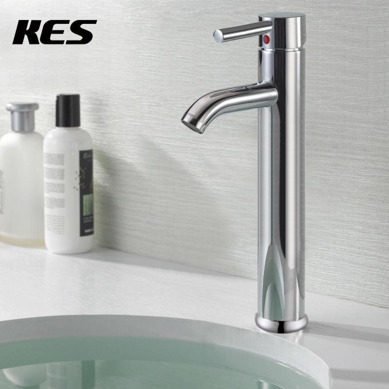 KES L306B Euro moderne salle de bain contemporaine lavabo lavabo robinet haut, Chrome/Nickel brossé