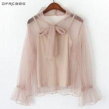 Женская кружевная блузка с бантом элегантная повседневная приталенная