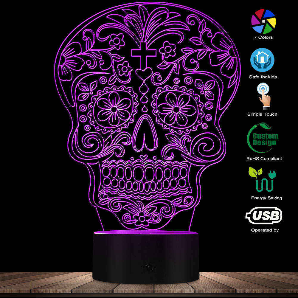 Sugar Skull 3D Light Horror The Day Of The Dead Illusion Projection Lamp Dia De Muertos 3D Novelty Night Light Halloween Gift
