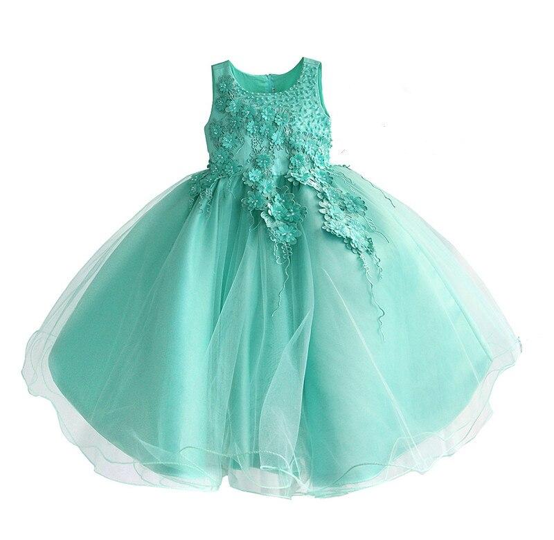 Robe de fleur de mariage de filles pour la robe de dentelle de fête d'anniversaire de princesse robe d'été de Costume de boutique d'enfants [Yelaumoky] - 6