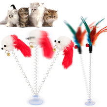 Hot Cat Interactive Toy With Sucker Spring Feather Plush Mouse Funny Pet Toys LFD