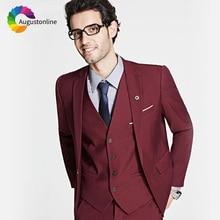 Burgundy Wine Red Men Suits For Wedding Groom Prom Business Slim Fit Formal Blazer Custom Tuxedo Terno Masculino Best Man 3Piece