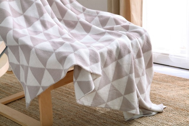 Grey Chevron Soft Blanket Cashmere Blankets Knitting Double Sided