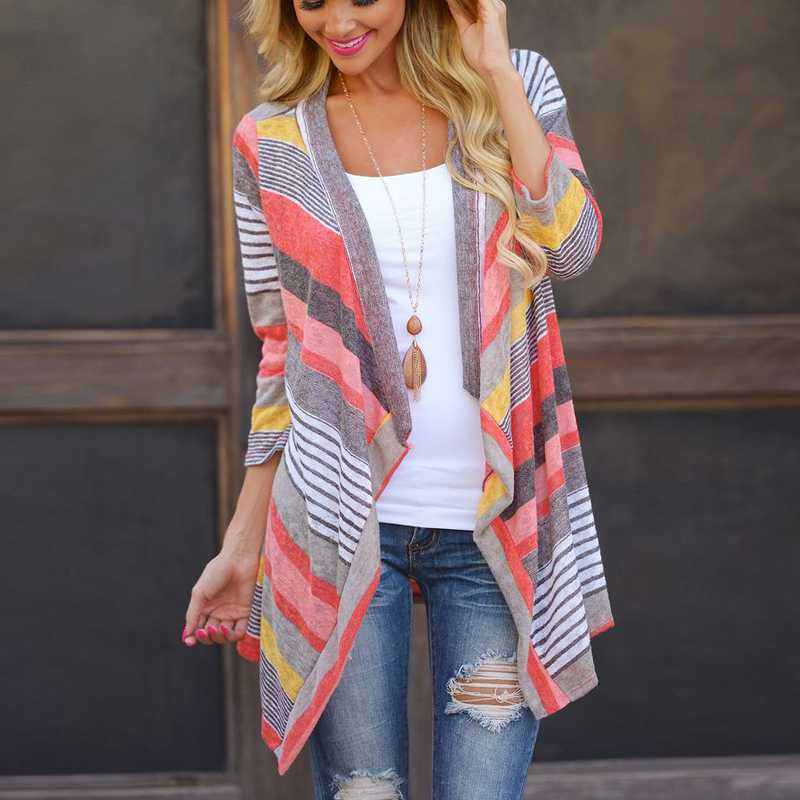 New Striped Print Boho Cardigan Women Red Outwear Knitted Casual Vintage Jacket Coat Tops Loose Sweater Plus Size Irregular