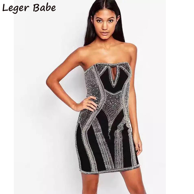 2018 Fashion Nova Women Short Outfit Sheath Crystal Studs Diamond Studded  Beaded Embellishment Mini Bandage Strapless Dress
