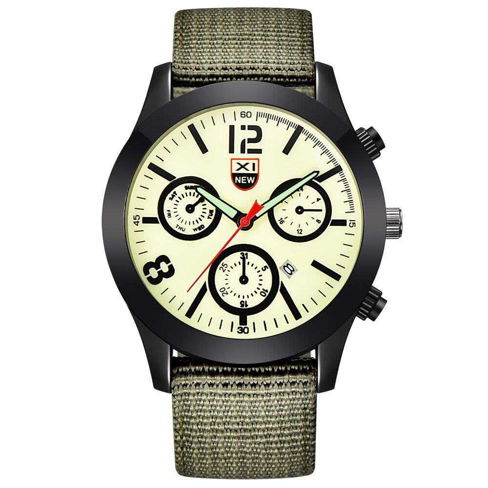 Mens Relógios Baratos Homens Nylon Banda Data Militar Do Exército Sports Analógico Quartz Relógio de Pulso Relojes de Lujo Marcas Homens relogio masculino