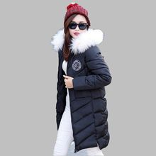 2016 Winter Medium long Hooded Fur collar Thicken Fashion Cotton down jacket Loose Big yards Cultivate one's morality Coat G1539