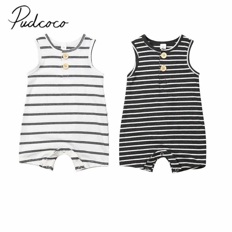 2019 Baby Summer Clothing 0-24 Newborn Infant Baby Boy Girl Striped Romper Clothes Sleeveless Striped Summer Outfit Jumpsuit