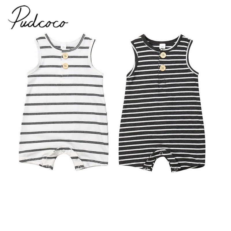 2019 Baby Summer Clothing 0-24 Newborn Infant Baby Boy Girl Striped Romper Clothes Sleeveless Striped Summer Outfit Jumpsuit(China)