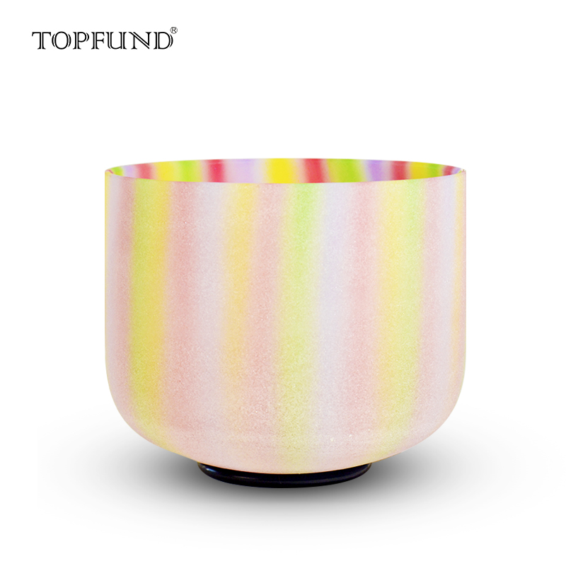 "TOPFUND Rainbow Colour Frosted Chakra Quartz Crystal Singing Bowl 8 "", A B C D E F G Note, O ring and Mallet ներառված"