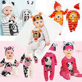 Newborn Infant Baby Girls Boys Playsuit  Footies Long Sleeve+Hat Costume Outfits Set 6M-24M