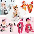 Recién Nacido los Bebés Niños Playsuit Footies de Manga Larga + Sombrero Traje Trajes Set 6 M-24 M