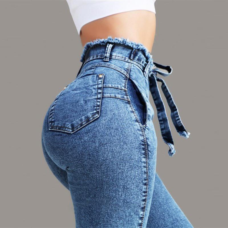 2019 New Yfashion Women Stretchable Body building Fringed Waist Belt High waist Jeans in Pants amp Capris from Women 39 s Clothing