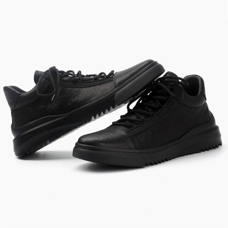 Homme décontracté chaussures en cuir de haute qualité bout rond à lacets chaussures en cuir véritable marque de luxe hommes printemps mode doux noir chaussures - 3