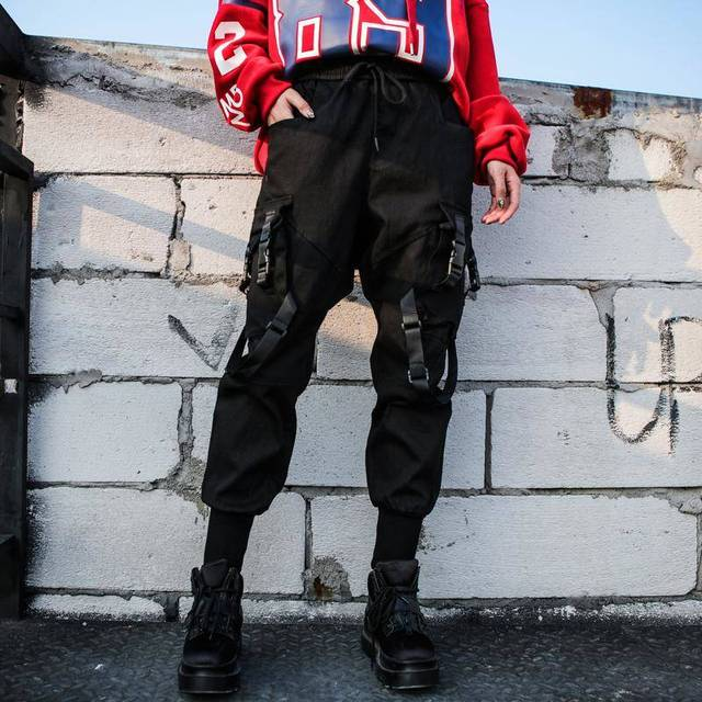 2019 Black High Waist Cargo Pants Women Pockets Patchwork Loose Streetwear Pencil Pants Fashion Cool Hip Hop Women's Trousers