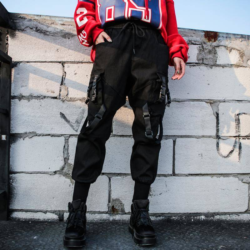 Black High Waist Cargo Pants Women Casual Punk Funny Pants Loose Streetwear Pencil Harajuku Pants Fashion Hip Hop Women Trousers