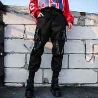 Preto de cintura alta calças de carga feminina casual punk engraçado calças soltas streetwear lápis harajuku moda hip hop calças femininas