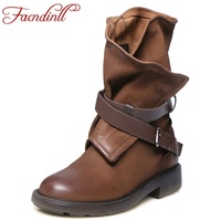 FACNDINLL Shoes Women Retro Boots Handmade Ankle Boots Flat Boots Real Genuine Leather Shoes Women Autumn