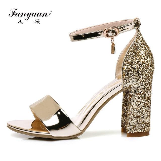 Fanyuan Summer shoes Women Bling Ankle Strap Women Sandals Peep toe  Footwear Chunky Heel Ladies High 8d30c97e0246