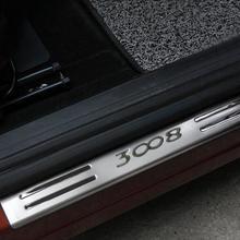 Для PEUGEOT 207 308 3008 аксессуары для стайлинга автомобилей Нержавеющая Накладка на порог защита наклейки 2010 2011 2012