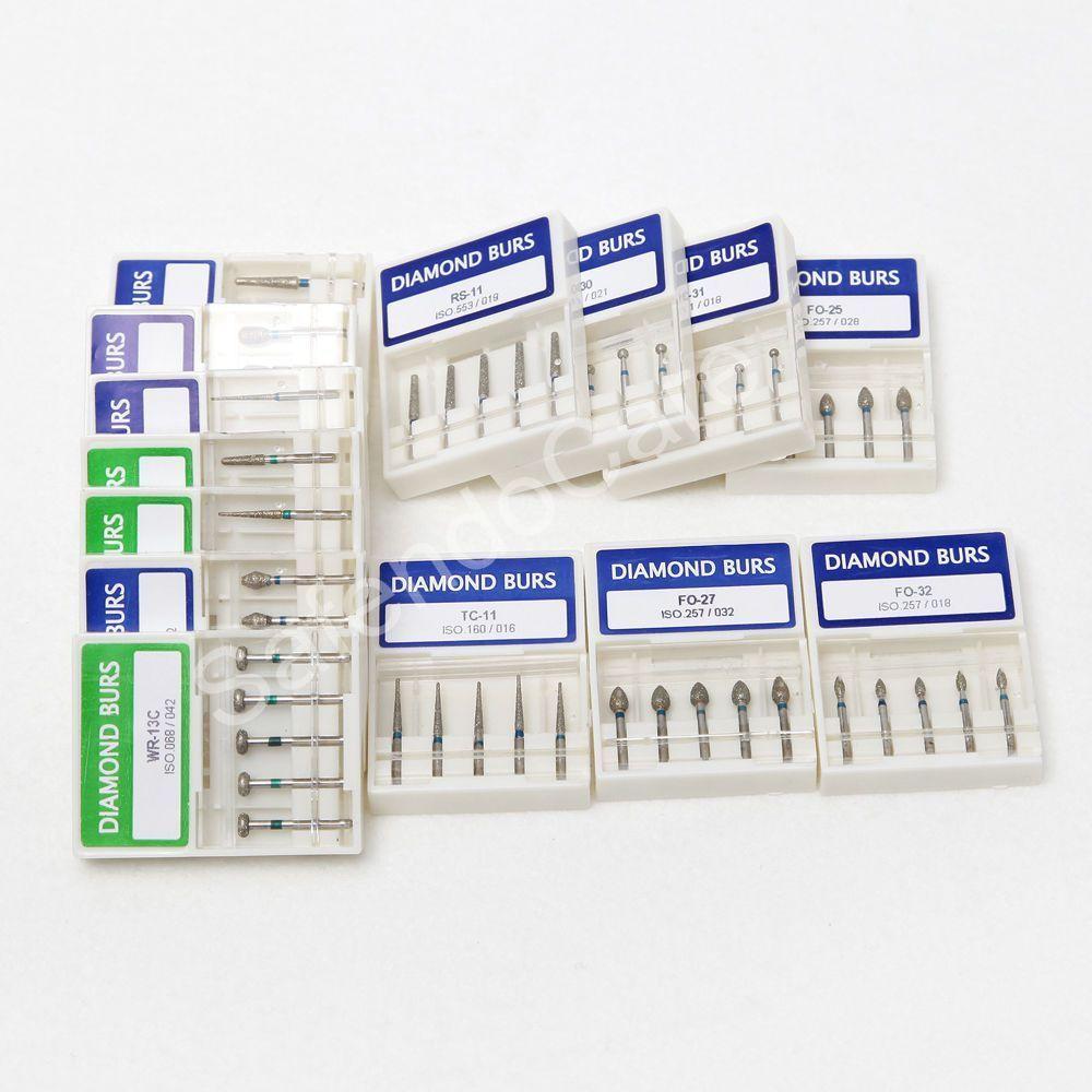100pcs Dental Diamond Burs for High Speed Handpiece Medium FG 1.6M Brand New 30pcs dental diamond high speed burs drills for porcelain teeth 1 holder block