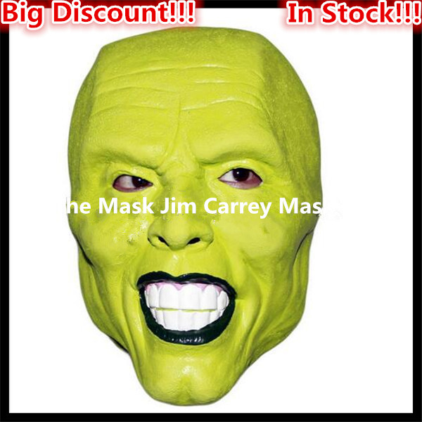 Free shipping Halloween Party Cosplay Details Loki latex mask Jim Carrey Costume Fancy Dress Famous Movie Props 'The Mask' Toys image