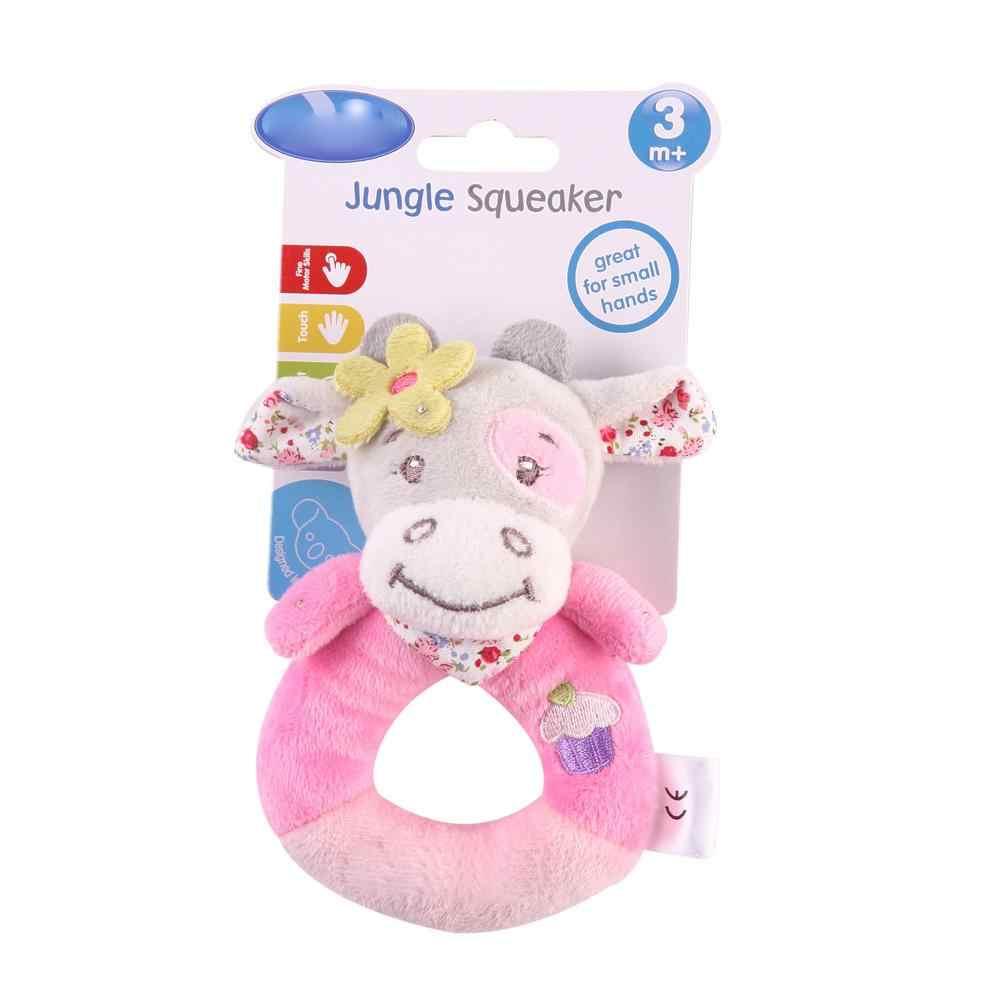 Детское плюшевое игрушечное кольцо детская погремушка щенок розовая корова розовый Ежик носорог маленький Ослик раннее развитие детей обучающая игрушка