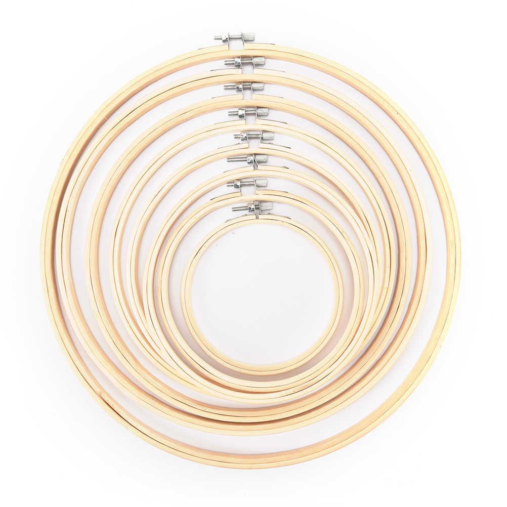 1Pcs 10-30cm Útil de Madeira Cross Stitch Máquina de Bordar Hoop Anel de Bambu Moldura Bastidor Rodada Agulha ferramentas de costura