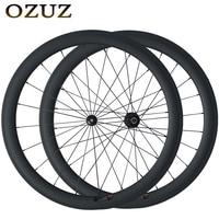 Powerway R36 50mm V Brake cycling carbon wheels Straight Pull 23mm Width wheelset 700c fixed Clincher bike wheel Free Custom