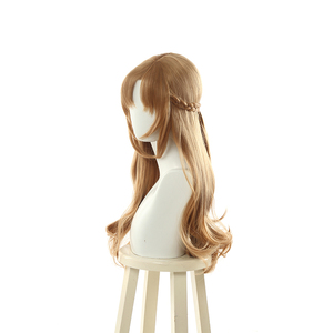 "Image 2 - L דוא""ל פאת שני להיט אמא Mamako Oosuki פאת קוספליי ארוך חום קוספליי פאות צמת פאות שיער חום עמיד סינטטי פאת Perucas"