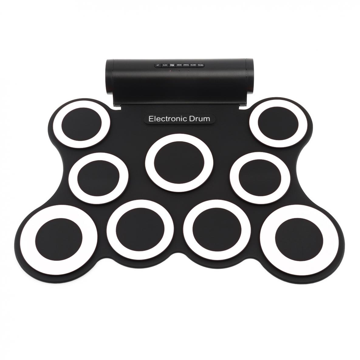 9 Pads Electronic Roll up Silicone MIDI Drum Double Speakers Stereo Electric Drum Kit with Drumsticks and Sustain Pedals in Drum from Sports Entertainment