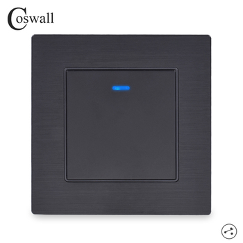 Coswall 1 Gang 2 Way On / Off Wall Light Switch Switched LED Indicator Pass Through Knight Black Aluminum Metal Frame - discount item  32% OFF Electrical Equipment & Supplies