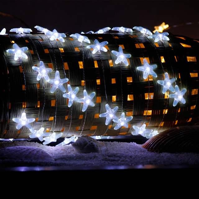 Starfish String Lights 10ft 40 Leds Fairy Light Christmas Decorative Sea Ocean Beach Themed Holiday