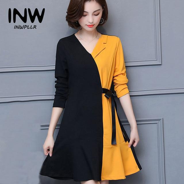 Fashion Dresses 2019: Winter Autumn Dress Women 2019 Casual Black Yellow