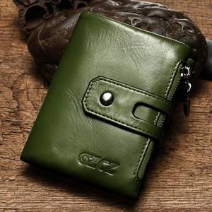 Image 5 - Carteiras curtas Dos Homens Das Mulheres Carteira de Couro Genuíno Nova Marca de Design de Moda Coin Purse Zipper & Ferrolho Com Suporte de Cartão de Bolso verde Vermelho