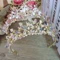 Тиара для невесты украшения для волос в стиле барокко  ручная работа  бисер  роскошные розовые золотые короны  диадема  тиары для милой принц...
