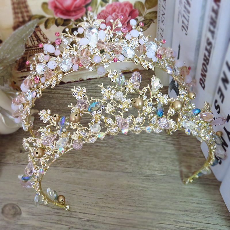 Brides Hair Jewelry Baroque Handmade Beaded Luxury Pink Gold Crowns Crystal Tiara Sweet Princess Tiaras Wedding Hair Accessories new hot pink freshwater pearl crystal handmade clear rhinestone beaded wedding accessories hair crown tiaras golden jewelry