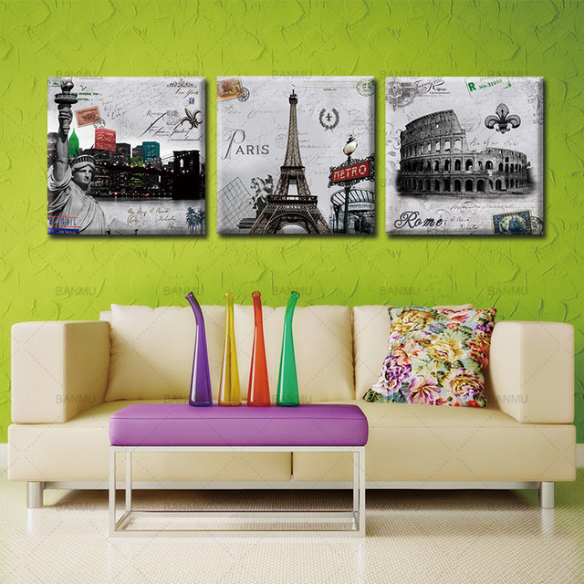 3 Piece Wall Painting Canvas Home Pictures Paris Roman Modular Modern Picture