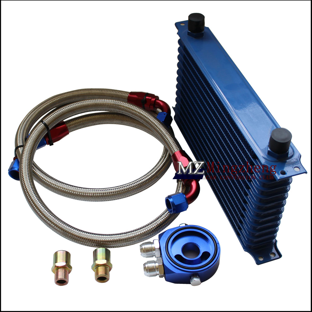Car accessories 13 Row Thermostat Adaptor Engine Racing Oil Cooler Kit For CAR/TRUCK Blue AN10 Engine Oil Cooling Kit