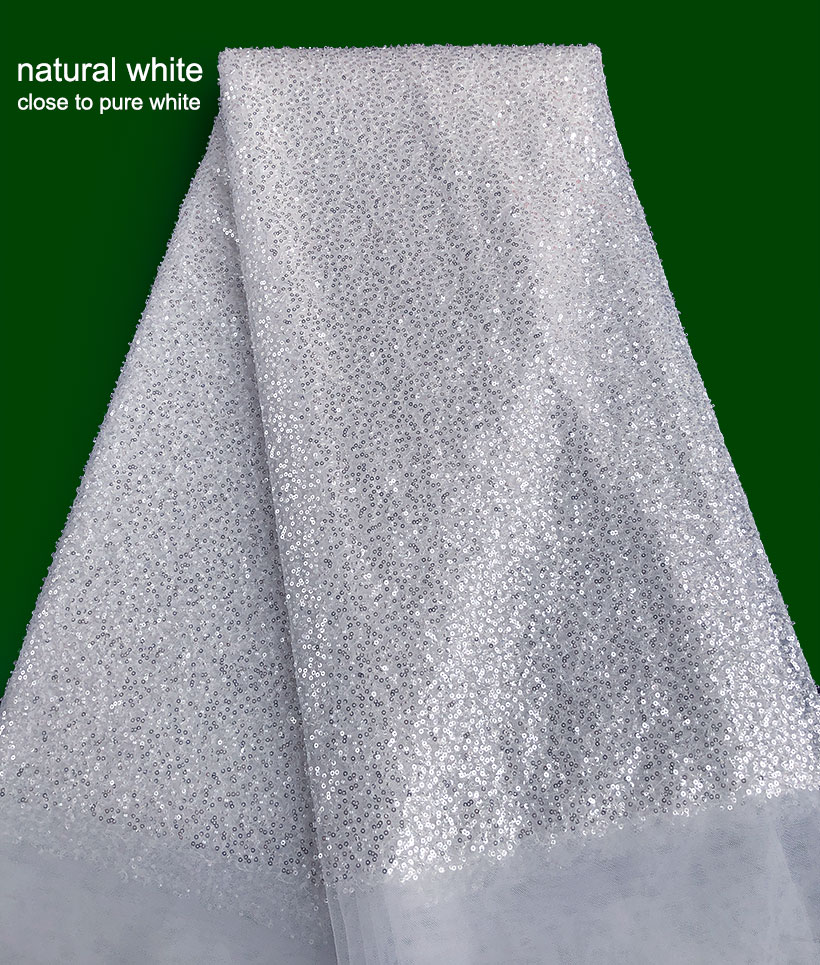 top class white big french lace Fantastic bridal African tulle lace fabric with small sequins crystal