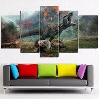 5 Panels Canvas Print Jurassic World Fallen Kingdom Posters Wall Decor Movie Posters Home Decor No Frame