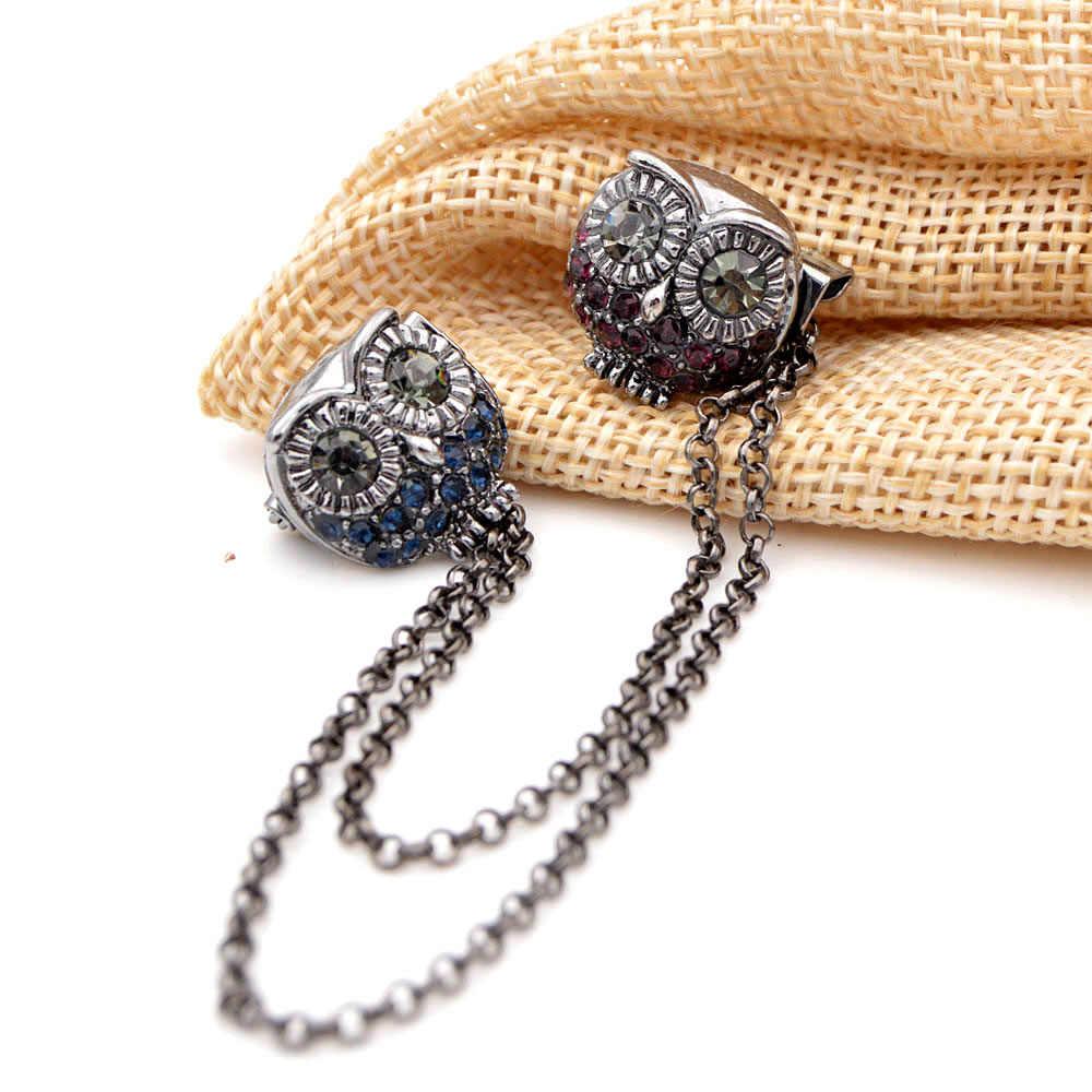 Cindy Xiang Baru Double Burung Hantu Bros untuk Wanita Rumbai Pin Bros Suit Aksesoris Perhiasan Keren Kreatif Bros Hadiah