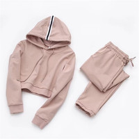 2018 Spring New European And American Style Solid Color Short Section Sweater Suit Women Wild Repair
