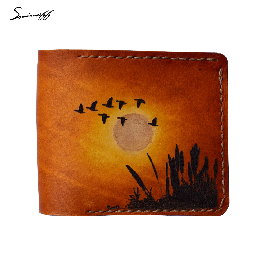 3b7d62619591 US $65.0 |Customized Vegetable Leather Wallet Handmade Dusk Setting sun  Migratory bird painting art Woman Purse Genuine Leather Wallet-in Wallets  from ...