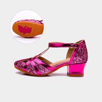 2017 Girl Fashion Latin Dance Shoes Kids Sequins Hollow Sandals High Quality Children Shoes Girl Wedding