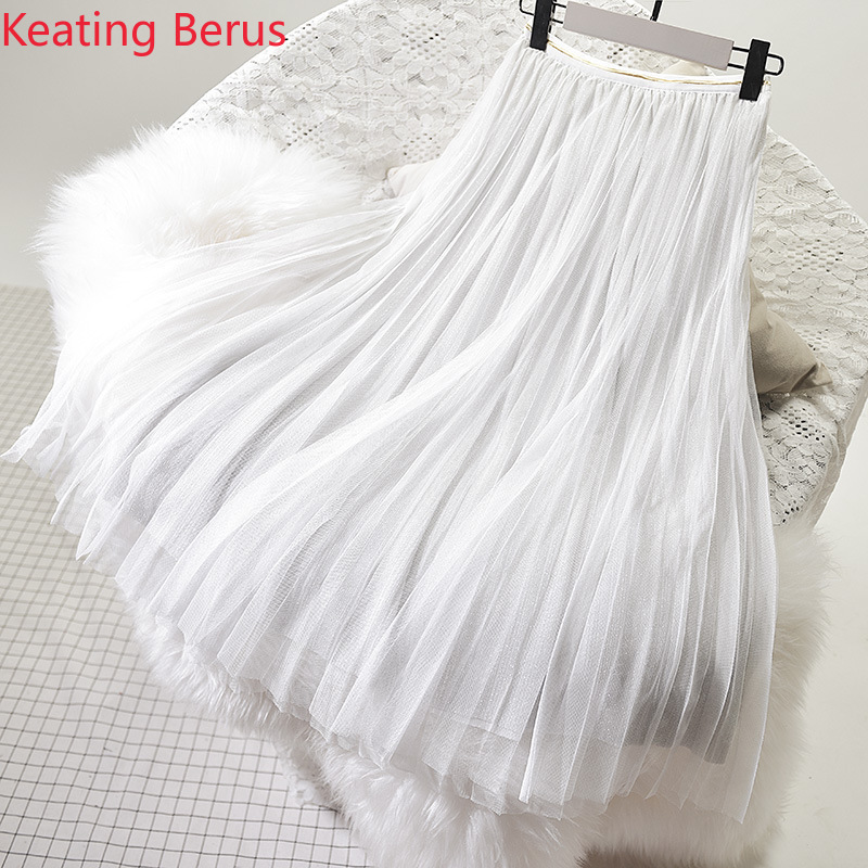 Women Skirt Loose Large Size White Long Mesh Skirt Casual Women Beach Pleated Skirt Women Skirt Harajuku 0946