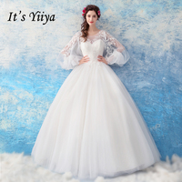 It's Yiiya White Wedding Dress 2018 New O neck Illusion Puff Full Sleeves Bride Ball Gowns Emboridery Beading High Grade LX837